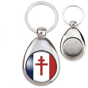 Reloadshop Porte-Clés Métal Jeton Caddie Drapeau France Libre Croix de Lorraine Résistance CDG (Badgmania, neuf)