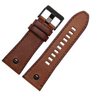 Bracelet en Cuir 24 26 28mm avec Clou pour Diesel Watchs Band Main Bracelet en Cuir, Brun Noir Boucle, 24mm (suizhoushizengdouquyuezichuanbaihuodian, neuf)