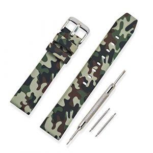 Vinband Bracelet Montre Haute Qualité Silicone Bracelet Montre Camouflage Épaissir De Plein air - 20mm, 22mm, 24mm Caoutchouc Montre Bracelet avec Acier Inoxydable Boucle (20mm, Vert) (vinband direct, neuf)