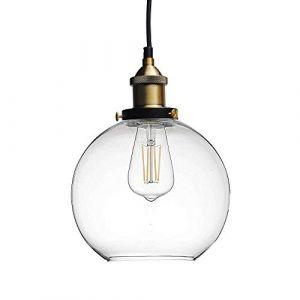 Huahan Haituo Lustre en verre transparent lampe suspendu rond rétro industriel simple (Huahan Extension, neuf)