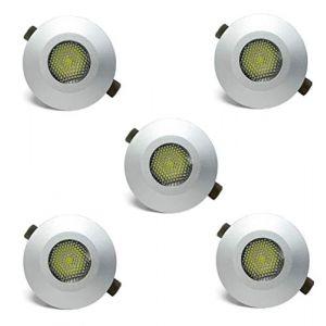 Lot de 5 mini spots LED encastrables 1 W avec bloc d'alimentation 6400 K pour éclairage de terrasse, spot et plafonnier, armoire (profi-lux, neuf)