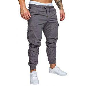 Minetom Homme Pantalons De Sport Running Training Pants Slim Cargo Jogging Couleur Uni Combat Fitness Gym Gris X-Small (ORANNER EU, neuf)