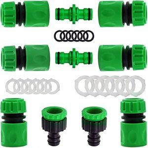 """YAAVAAW Lot de 10 Plastique connecteurs Rapides pour Tuyau d'arrosage (6 Hose Quick Connector,2 Double connecteur,2 Threaded Faucet Adapter) pour raccord de Robinet 1/2""""(21mm) et 3/4""""(26,5mm) (YIHUAN Official Store, neuf)"""