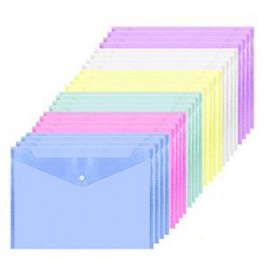 ZWOOS Pochette Plastique A4 Porte Document Polypropylène avec Bouton pour Le Stockage de Document (24 pcs) (ZOEON Direct, neuf)
