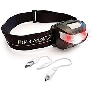 FitMotivaction(Marque française!-Lampe Frontale 3 LED Blanche et Rouges-Ultra Puissante:180 Lumen,120 Mètres,Autonomie 30h-Batterie Rechargeable USB-Idéale pour Running,Vélo,Camping,Bricolage,Lecture (FitMotivaction, neuf)