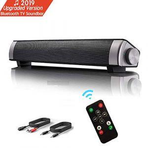 Barre de son, Haut-parleur, Bluetooth TV Soundbar stéréo filaire HD Audio, Cinéma maison de son pour PC, téléphone portable,TV, tablette, son puissant, support RCA/ AUX/ Bluetooth, avec télécommande (Siphly, neuf)