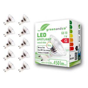 10x greenandco® IRC 90+ Spot à LED GU10 7W équivalent 60W, 510lm 4000K blanc neutre SMD LED 36° 230V AC, verre, aucun scintillement, non graduable (greenandco-fr, neuf)