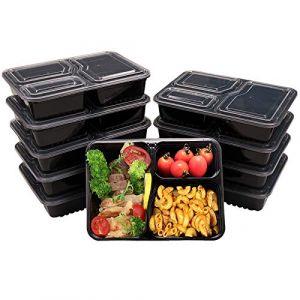 OITUGG 3 Compartiment Repas Préparation Contenants avec Couvercles, Empilable, Lave-Vaisselle et Four Micro-Ondes, Ensemble de Carrées Boîtes à Lunch,10 Morceaux by (SHEFAN, neuf)