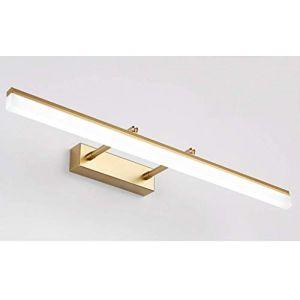 9W Doré Applique Murale LED pour Miroir Salle de Bains Rectangulaire Angle de 180 Ajustement Lampe de miroir Télescopable en Acier Inoxydable et Acrylique Blanc Chaud IP44 40 * 5.5CM 630LM (Luminaire-CMDK, neuf)