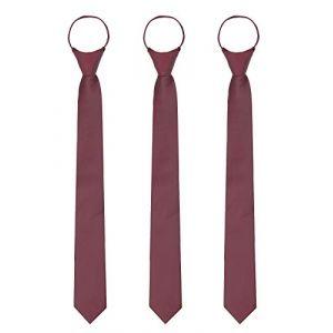WANYING 3 × Homme Zipper Cravate 6cm Étroite Pré-liée Sécurité Cravate Casual Business Longueur 48cm - Bordeaux Rouge (WANYING EU, neuf)
