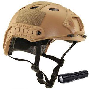 QMFIVE Casque Tactique Le Casque PJ avec Les Lunettes SWAT De Protection pour Combat CQB Airsoft Comdat Paintball (Désert+L) (QMFIVE, neuf)