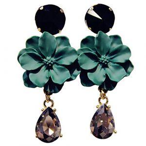 Boucle D'oreille Fleur Mate Longue Dangle Drop Boucle D'oreille Crystal Fashion Oreille Cerceau Diamant Frangé Strass Pour Les Femmes, Vert (YingJin ShiPin, neuf)