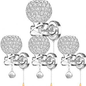 ALLOMN Applique de Style Moderne, Applique Pendentif Cristal Chambre Allée Salon Applique Titulaire Prise E14 (Ampoule non Incluse) (Avec Interrupteur à Tirette, 4 PACK) (LongingAge, neuf)