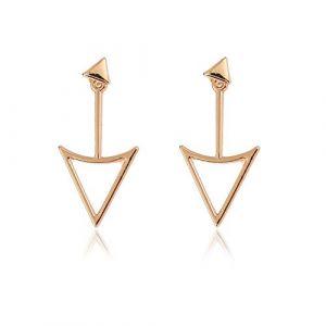 Boucles d'oreilles à clips en métal pour femme Motif géométrique creux Yangtze River Delta (huijiadeyichu, neuf)