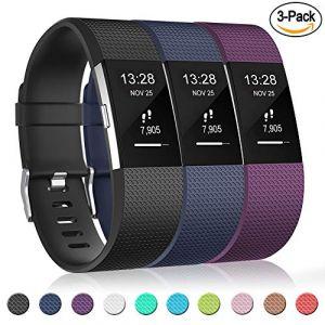 Gogoings Bracelet pour Fitbit Charge 2 - Bracelet Silicone Fitbit Bande de Rechange Réglable Souple Sport Compatible avec Fitbit Charge2 pour Femme & Homme (sans Montre) Lot de 3 (CHENZHILIN, neuf)