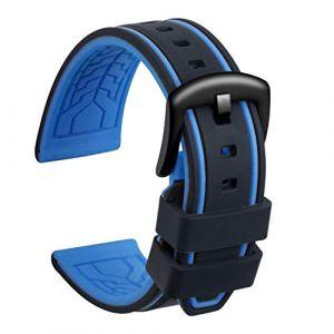 Ullchro Bracelet Montre Remplacer Silicone Bracelet Montre Bicolore - 20, 22, 24, 26mm Caoutchouc Montre Bracelet avec Acier Inoxydable Boucle Noir (22mm, Noir et Bleu) (Ullchro-EU, neuf)
