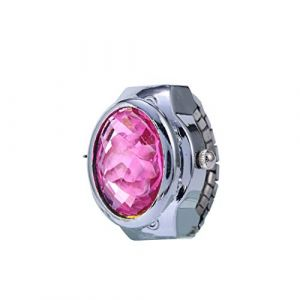 Montre de luxe quartz strass montre de bague ovale de la couverture Mini Watch, montre-bracelet réglable Mini doigt montre femme,Rose (LANDENG, neuf)
