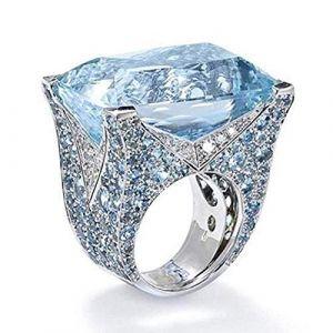 KEATTL Bague Femme,Rétro Unique Guirlande Pierre De Lune Bleu Zircon Diamant Bleu Ciel Carré Anneau Banquet Bijoux (Argent) (KEATTL, neuf)