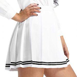 inlzdz Femme Fille Jupe Scolaire Uniforme Mini Jupe Plissée Courte Evasée Femme Uniforme Ecolière Déguisement Japonaise Jupe Danse Sport Jupe de Soirée Cérémonie Taille Haute Blanc A XXXL (inlzdz eu, neuf)
