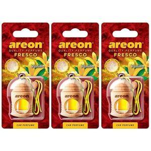 AREON Fresco Désodorisant Voiture Liquide Vanille Bouteille en Bois Flacon Rétroviseur Pendu 4ml (Vanilla Lot de 3) (My_Beauty_Box, neuf)