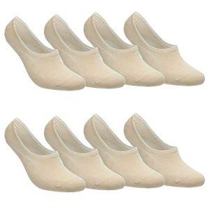 Falechay Chaussettes Basses pour Femmes Hommes 8 Paires Socquettes de Sport en Coton Antiglisse des Décontractées Beige 39-42 (CAIYAJIE, neuf)