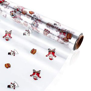 TOYANDONA Papier Cellophane Transparent Rouleau de Papier Cellophane de 2 5 Mil D'épaisseur Emballage Cadeau en Cellophane Décoré de Flocon de Neige pour Paniers-Cadeaux de Noël Artisanat (Cheryla, neuf)