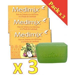 MEDIMIX SAVON AYURVEDIQUE - Medimix Savon Ayurvédique à la Glycérine et à l'huile de LAKSHADI - Lot de 3 x125 GRS (BUDGET STORE, neuf)