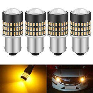 KATUR 1156 BA15S 7506 1073 1095 1141 Ampoule LED 900 Lumens 3014 78SMD Lentille Ampoules LED pour feu Stop Clignotant Feu arrière Feu de recul, Orange (Paquet de 4) (KAtur, neuf)