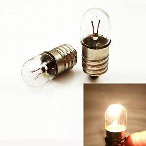 Lot de 10 ampoules à vis miniature E10 12 V T10x28 Blanc chaud, 12V 5W, E10 (DC-chun, neuf)