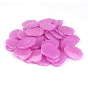 Galets fluorescents pour décor de jardin féerique ou pour aquarium - Lot de 44 galets en forme de flocons, 315 g 3-4cm violet (Xiamen Alan Stone Trade Co.,Ltd, neuf)