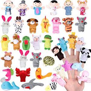 Joinfun 38pcs Marionnettes Doigt Enfants L'heure du Conte 32pcs Animaux Jouets 6pcs Personnes Membres de la Famille Marionnettes Jouets Poupées Mignonnes pour Enfants Spectacles Jeux Écoles (Joinfun, neuf)