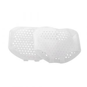 Walmeck Footpad 2 PCS Semelles en Gel de Silicone Blanc Coussinet Avant-Pied Absorption des Chocs au Talon Haut Douleur Anti-Pieds Glissants Tapis de Soin de Santé Lady Respirant Taille Réglable (rosmii, neuf)