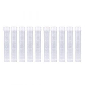 10ml Scientific Plastique tubes à essai avec couvercle à vis Tube Caps Fiole clair, Cap Lot Joint cylindrique en bas (lot de 10) (tanusuk, neuf)