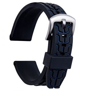 Ullchro Bracelet Montre Remplacer Silicone Bracelet Montre TextuRouge - 20, 22, 24mm Caoutchouc Montre Bracelet avec Acier Inoxydable Boucle Argent (24mm, Bleu) (Ullchro-EU, neuf)