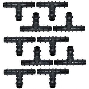 AERZETIX - C48698 - Lot de 10 Raccords/répartiteurs en ''T'' Ø16mm pour Tuyau d'arrosage - jonction cannelée en ''T'' pour système d'irrigation Goutte à Goutte (Tuning, neuf)