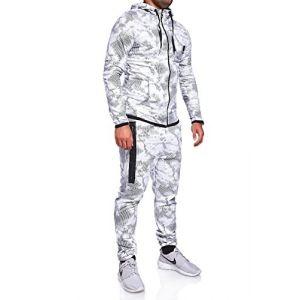 MT Styles Ensemble Pantalon de Sport + Sweat-Shirt Jogging survêtement R-739 [Blanc, S] (Mytrends, neuf)