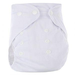 Happy Cherry Couche Lavable Bébé Fille Garçon Couche-Culotte Respirant Anti-Fuite Culotte d'Apprentissage Imperméable Bouton Taille Réglable Imprimé (Sans Insert) 3-15kg Blanc (OUJINGEU, neuf)