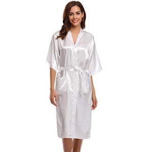 Aibrou Femmes satinee peigBlanc longue long robe Chemise de nuit chambre kimono coquet et feminin nuisette confortable Satin un gout Japon, Blanc, S: epaule 54cm, buste 108cm (Aibrou Direct, neuf)