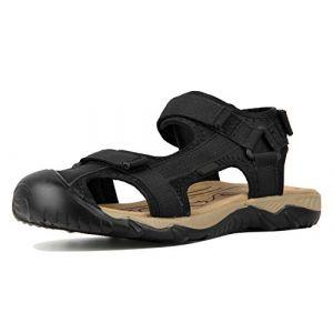 4How Homme Sandales de Marche Chaussure Été Antidérapante avec Sangle Velcro Ajustable-Noir Taille 45 (Fashionmarket-EU, neuf)