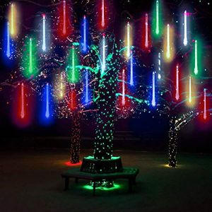 10 Tubes 30CM LED Météore Pluie Lumineuses Guirlandes Solaire,DINOWIN Lumineux Etanche Extérieur Douche Pluie Feux pour Noël Mariage Fête Soirée Maison Arbre Sapin Jardin (Multicolore) (tuankayuk, neuf)