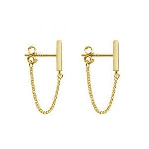 Minimaliste Longue Chaîne Pendantes Enfileur Boucle d'Oreille Minimaliste Clous Minuscules Earrings en Argent Sterling pour Femmes et Hommes (Or, 3) (Yoofa EU?, neuf)
