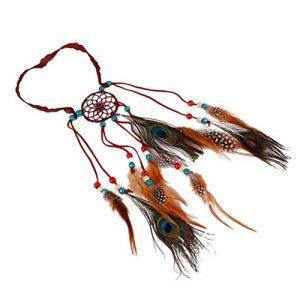 Lurrose Bandeau en plumes de paon bohémien, coiffe de Dreamcatcher, coiffe amérindienne, accessoires pour cheveux en plumes (vin rouge) (Veronicoar, neuf)