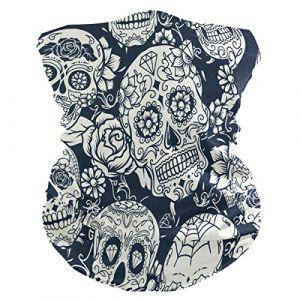 QMIN Bandeau Tête de mort en sucre Fleur Halloween Bandana Visage Soleil Protection Masque Cagoule Magique Cagoule pour Femmes Hommes Garçons Filles (QMIN, neuf)