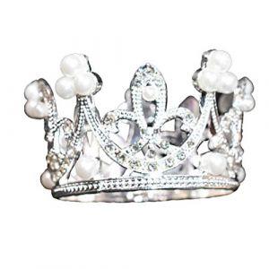 Mini couronne de mariage ronde ronde en forme de couronne avec strass et perle (Lunneya, neuf)