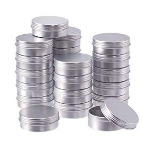 BENECREAT 24 Pots de bidon en Aluminium de 25 ML, boîtes de bidon en Aluminium Rondes Contenant Le Couvercle avec Couvercle à Visser pour Le Bricolage-Platine (BENECREAT FR BOUTIQUE, neuf)
