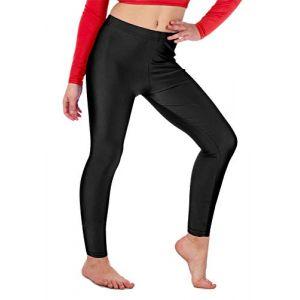Re Tech UK Legging de gymnastique/danse - pour fille - Lycra/élastiqué - sans sous-pied - brillant/fluo - Noir - 3-4 ans (Re Tech UK, neuf)