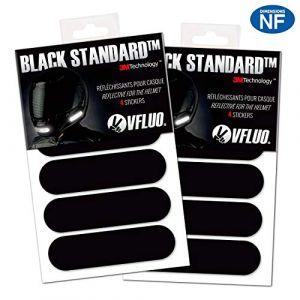 VFLUO Black Standard™, (Lot de 2) Kit 4 Bandes Stickers rétro réfléchissants pour Casque Moto, 3M Technology™, Noir (VFACTORY, neuf)