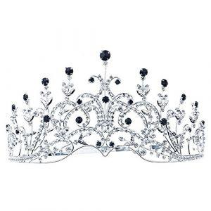 41fffaea43c Style Vintage Couronne Diadème Noir Cristal Miss Beauté Concours Bal Soirée  T1389 ...