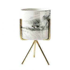 Lamta1k Pot de fleurs décoratif en marbre de haute qualité et coloré avec un toucher réaliste, doré, M (lamta1k, neuf)