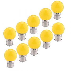 Ampoules baïonnette B22 - Paquet de 10 ampoule LED Feston 2 W (équivalent 20W), ampoule écoénergétique écoénergétique colorée jaune, petites ampoules de Noël BC Cap (HUAMu, neuf)